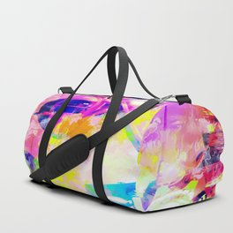 Ferris wheel and modern building at Las Vegas, USA with colorful painting abstract background Duffle Bag