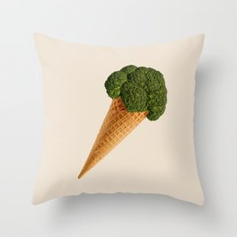 broccoli ice cream Throw Pillow