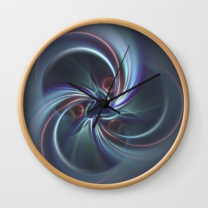 Moons Fractal in Cool Tones Wall Clock