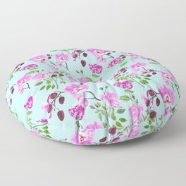pink purple flowers watercolor painting Floor Pillow