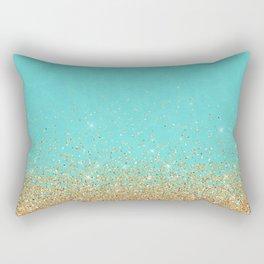 Sparkling gold glitter confetti on aqua teal damask background Rectangular Pillow