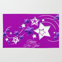 Fucshia and Purple Happy New Year Shooting Stars  Rug