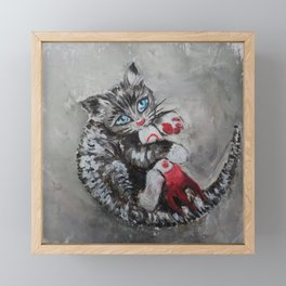 Kitten playing with a toy rocket - oil panting. Fallout fan art Framed Mini Art Print
