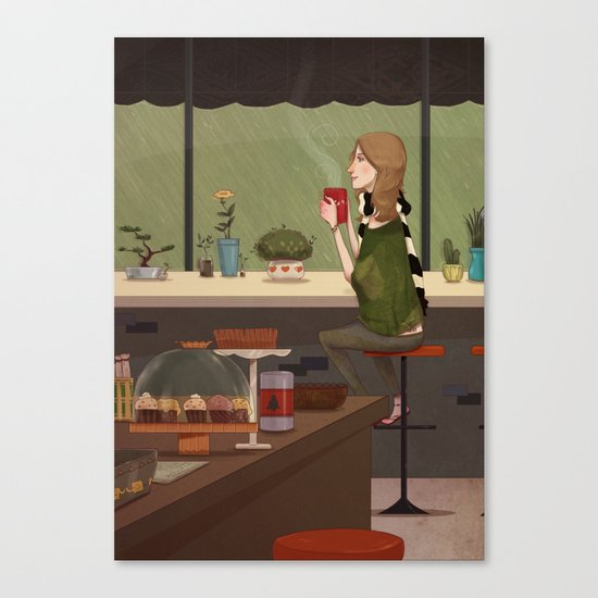 Coffee + Rain Canvas Print