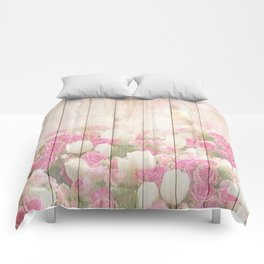 Beautiful Pink Tulip Floral Vintage Shabby Chic Comforters
