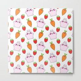 Cute funny Kawaii pink little baby bunnies, happy orange carrots and ripe juicu summer strawberries adorable lovely pattern design. Nursery decor ideas. Metal Print