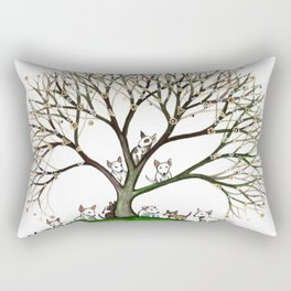 Bull Terriers Whimsical Dogs in Tree Rectangular Pillow
