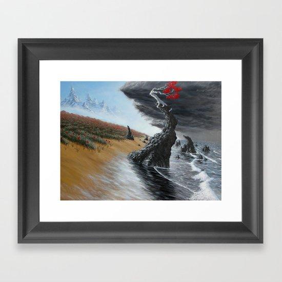 breaking the tide Framed Art Print