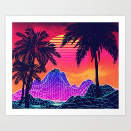 Neon glowing grid rocks and palm trees, futuristic landscape design Art Print
