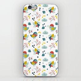 winter birds pattern iPhone Skin