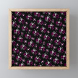 Pattern in white and pink with black Framed Mini Art Print