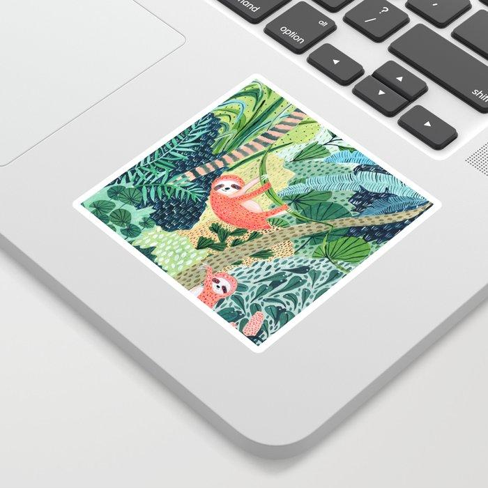 Jungle Sloth Family Sticker
