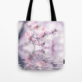 Zen Style Cherry Blossom and Water Tote Bag