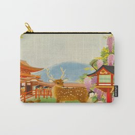Vintage Mid Century Modern Japan Travel Poster Deer Red Pagoda Wisteria Garden Carry-All Pouch