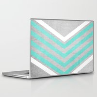 chevron Laptop & iPad Skins featuring Teal and White Chevron on Silver Grey Wood by Tangerine-Tane