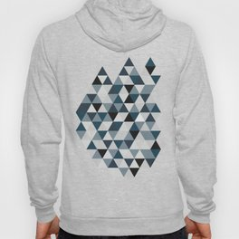 Sea Blue and Grey / Gray - Hipster Geometric Triangle Pattern 02 Hoody