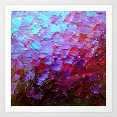 MERMAID SCALES - Colorful Ombre Abstract Acrylic Impasto Painting Violet Purple Plum Ocean Waves Art Art Print