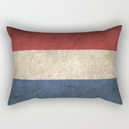 Old and Worn Distressed Vintage Flag of The Netherlands Rectangular Pillow