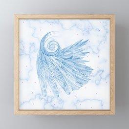 Beautiful Feathers on Blue Marble Design Framed Mini Art Print