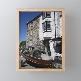 HARBOUR BUILDINGS PORT ISAAC CORNWALL Framed Mini Art Print