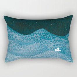 ornament ocean, moon & boat Rectangular Pillow