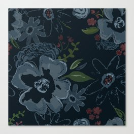 Moody Blues Floral Pattern Canvas Print