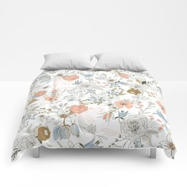 Abstract modern coral white pastel rustic floral Comforters