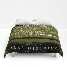 English Lake District Typographic Print Comforters