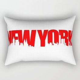 New York Skyline - Red Rectangular Pillow