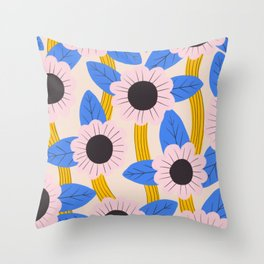 Pink and blue flowers Throw Pillow