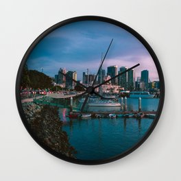 Moody sunset by Downtown San Diego Wall Clock