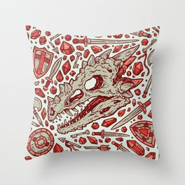Hoard of the Gem Dragon | Ruby Throw Pillow