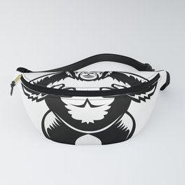 Silverback Gorilla Beating Chest Woodcut Fanny Pack