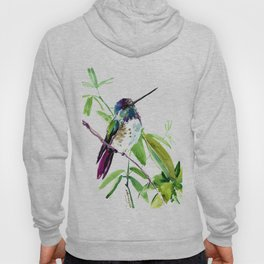 Hummingbird and Green Foliage, tropical green design Hoody