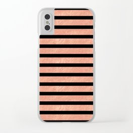 Rose Gold Stripes on Black Clear iPhone Case