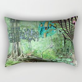 Digital Circuit Jungle Tree, creatures of the electronic age Rectangular Pillow