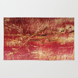 Rusted Gold and Red Abstract Landscape Rug
