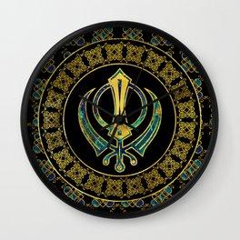 Gold and Marble Khanda symbol Wall Clock