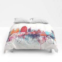 Barcelona Watercolour Skyline Comforters