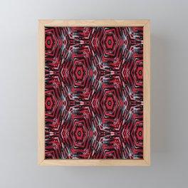 Ethnic ikat pattern.Red and blue. Framed Mini Art Print
