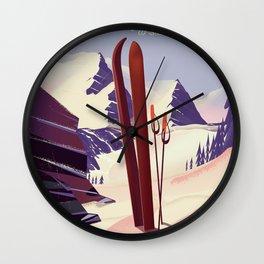 Grand Targhee, Alta, Wyoming ski poster Wall Clock