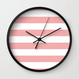 Large Blush Pink and White Cabana Tent Stripes Wall Clock