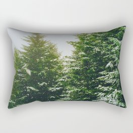 Winter Pine Tree Forest (Color) Rectangular Pillow