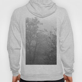 Black and white autumnal naked trees surrounded by fog Hoody