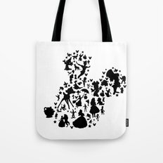 black and white mouse with characters Tote Bag
