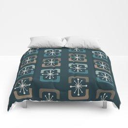 Mid Century Modern Starburst Shells Teal Comforters