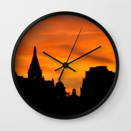 London Sunset in sillouette bywhacky Wall Clock