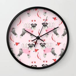 Schnauzer love cupid dog costume valentines day pet gifts schnauzers Wall Clock