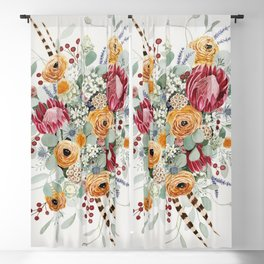 Fall Protea Bouquet Blackout Curtain