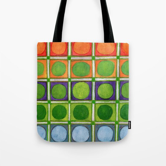 Beautiful Rainbow Colored Circles in a Grid Tote Bag